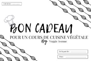 Carte cadeau pour un atelier de cuisine végétale