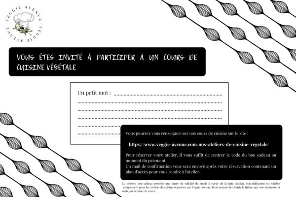Carte cadeau cours de cuisine végétale Nantes - Veggie Avenue