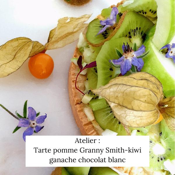Tarte kiwi – Pomme Granny Smith, ganache chocolat blanc – sans gluten