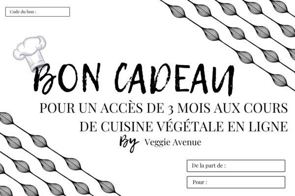 Carte cadeau Accès 3 mois - cours de cuisine végétale en ligne - Veggie Avenue