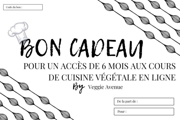 Carte cadeau Accès 6 mois - cours de cuisine végétale en ligne - Veggie Avenue