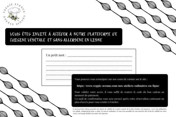Carte cadeau Accès- verso- cours de cuisine végétale en ligne - Veggie Avenue