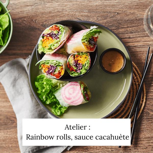 Rainbow rolls et sa sauce cacahuètes
