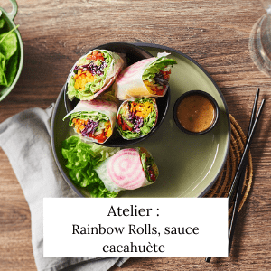 Rainbow rolls, sauce cacahuète - Veggie Avenue
